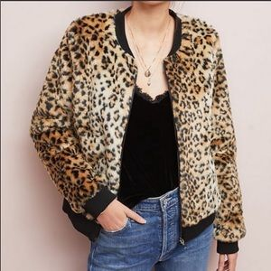 UO Skies Are Blue Leopard Faux Fur Bomber Jacket